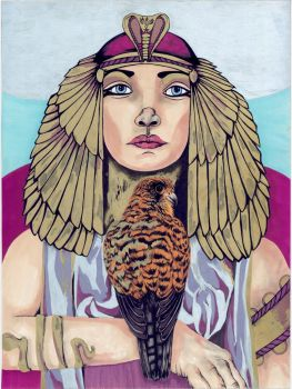 Cleopatra With Egyptian Falcon by Gracefulimplosion
