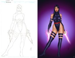 PSYLOCKE lineart +BUFFY Colors by daikkenaurora