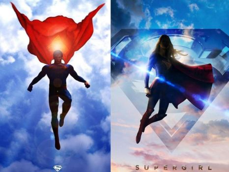 Superman  Supergirl In The Clouds by Shulkie
