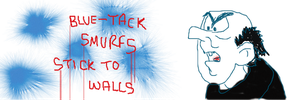Blue-Tack Smurfs stick to walls by UncleGargy