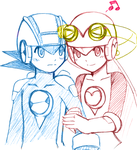 Rockman EXE and Roll EXE by Na-Nami