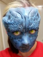Mystique Makeup Test 2 by leafeon-ex