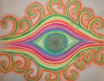 Psychedelic Pastel Eye Drawing by Trip-Artist