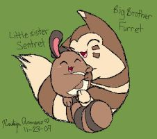 Siblings Sentret and Furret by PokreatiaForms