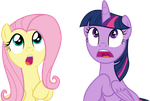 Fluttershy and Twilight Sparkle by SilverMapWolf