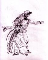 Aaron and Themya Fighting by TantzAerine