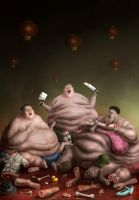 obese cannibal party by Vaghauk