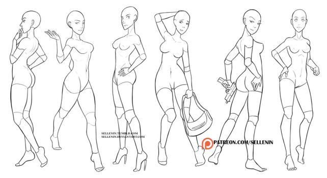 Random female poses by Sellenin