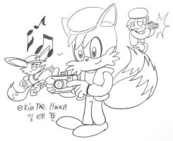 Tails with Dennis Watson's costume! by komi114