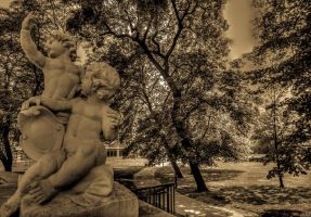 The monument in the park Burggarten in Vienna by azabek