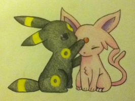 Umbreon and Espeon :) by Racheii