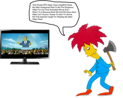 Sideshow Bob mad about Russ Cargill by darthraner83