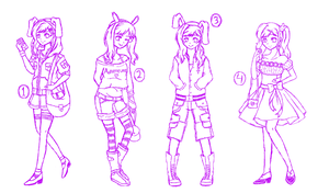 Many Outfits of Fionna the Human Girl SKETCH by chibimeganekko-tan