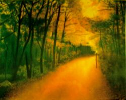 Chalk Pastel autumn path by CuriousGeorge43545