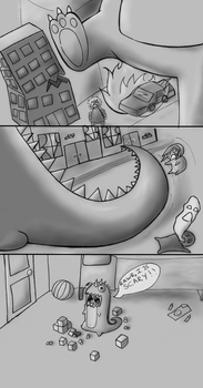 dino comic in greyscale by Toast2023
