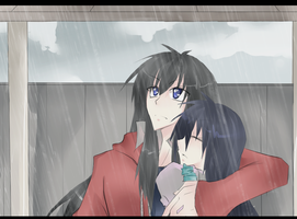 in the rain:. by Saru112