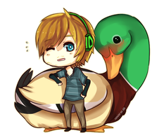 Pewdie and a duck by Renciel