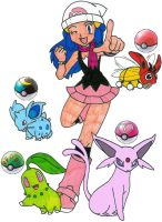Dawn and her Pokemon in Johto by MCsaurus