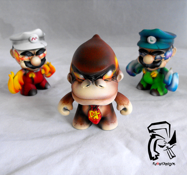 Psycho Mario Bros and DK by FullerDesigns