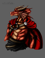 Red Dragonborn Warlock by LolloBoloz