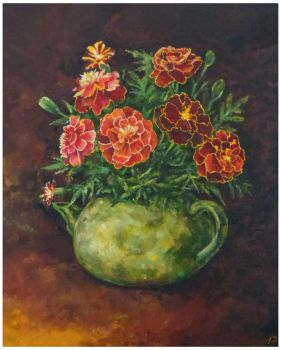 Tagetes in the teapot by Ka-ren