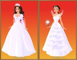 Katniss's wedding gown+book vs. movie by LadyAquanine73551