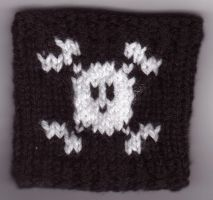 Knitted Skull Wrist-warmers by Renah-Lily