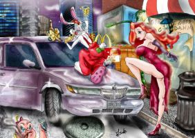 Baby Herman Jessica Roger Rabbit with champagne by anemchan41191