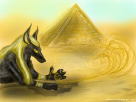 Anubis in the heart of Egypt by BlueIrisFlower