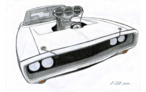 1970 Dodge Charger R/T Drawing by Vertualissimo