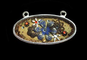 Aged flower oval pendant by sillysarasue