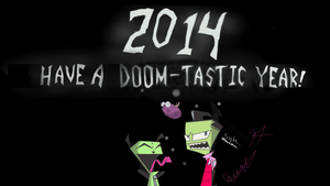 Zim, GIR and Minimoose welcome 2014! by Catsville1