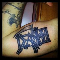 death lettering tattoo by ShellyZTrueheartInk