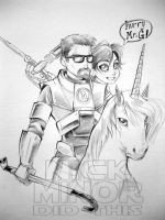 Gordon Freeman on a unicorn by Radiant-Grey