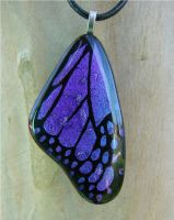 Dark Purple Blue Glass Wing by FusedElegance