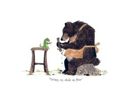 Bear and Lizard Carvin' by morganobrienart