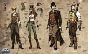 Steampunk Sketches A by pixelsaurus