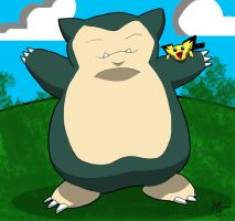 Snorlax and Pichu by HurricaneJosh