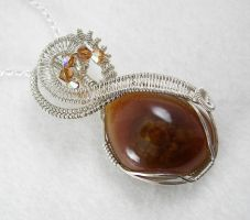Fire Agate Wrapped Necklace by DesertShineJewelry