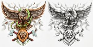 Eagle, Snake, Lion Tattoo Design by CrisLuspoTattoos