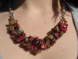 Brown and Red Necklace by MuffinSquee