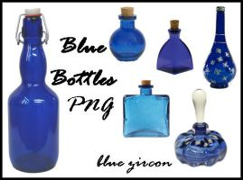 Blue Bottles PNG Stock by bluezircon-graphics