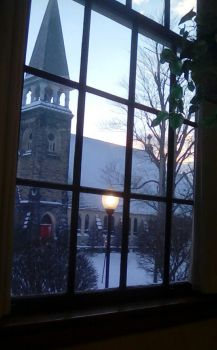 Old church through window. by shifter124