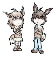 Almond and Toffee: Eevee Twins by Prushia