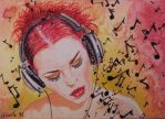 ACEO - Music speaks - watercolor by Giselle-M