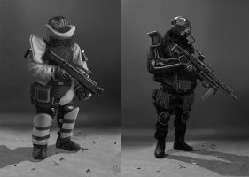 Sci-fi soldiers by Flip-Fox