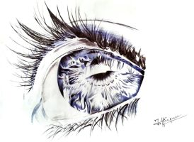 Blue Eye Ballpoint Pen Sketch by JeffSequeira