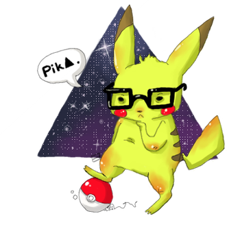 Hipster Pikachu by oober-zombie