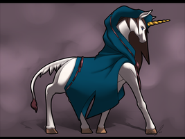 Hooded Unicorn by jaclynonacloud