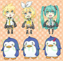 Vocaloid/Mawaru Penguindrum charms by LostAngel101
